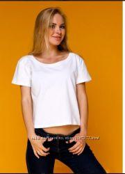 Стильная белая укороченная футболка Коттон
