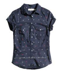 Рубашка H&M в морском стиле с якорями