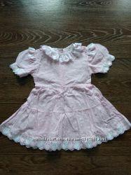 Платье розовое летнее 1-2 года, джунгли