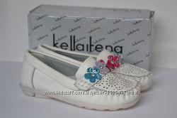 Кожаные туфли мокасины для девочек  Kellaifeng KLF