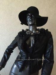 Эксклюзивная черная кожаная куртка пиджак, на рост до 165