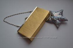 2 изящных  стильных  модных клатча золотой и серебристо-белый