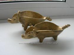 Пепельницы, Свинки, бронза, пара, ручная работа, Австрия
