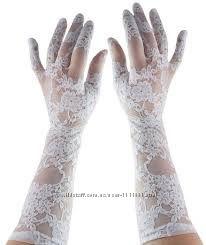 Белоснежные ажурные перчатки Leg Avenue