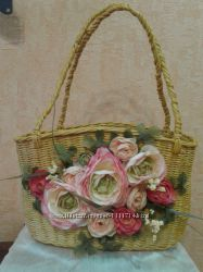 Летняя сумка-корзина из лозы ручной работы