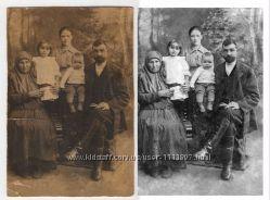 Восстановление  реставрация,  цветокоррекция  старых фотографи. photoshop