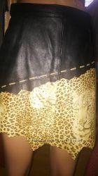 100кожаная фирменная юбка