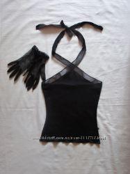 Черная стильная трикотажная маечка