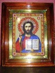 Икона вышитая бисером Иисус Христос
