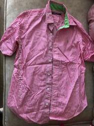 Хлопковая розовая блуза в полоску рубашка ralph lauren polo
