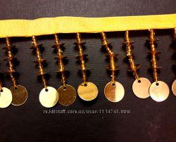 Бахрома шторная со стеклярусом золото стоковая распродажа