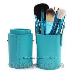 Кисти для макияжа 12 штук в тубусе  фиолетовые, бирюзовые, розовые