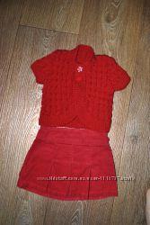 Юбка коттоновая красная плотная вельветовая на 3-6 месяцев