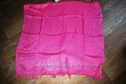 Платок шарф яркий розовый с люрексом