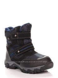 Термоботинки для мальчиков C-B26-81-B Biki синий, черный, размеры 33, 34, 3