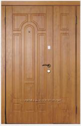 Дверь входная полуторная металлическая с МДФ накладками Каскад модель 110