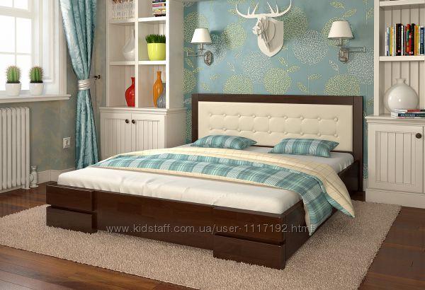 Кровать с мягким изголовьем Регина из дерева полуторная, двуспальная