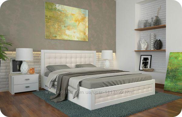 Кровать с мягким изголовьем Рената Д с подъемным механизмом из дерева