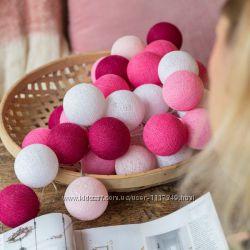 Тайская гирлянда Pink 20 шариков линия