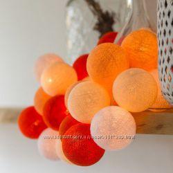 Тайская LED-гирлянда Orange 20 шариков на батарейках