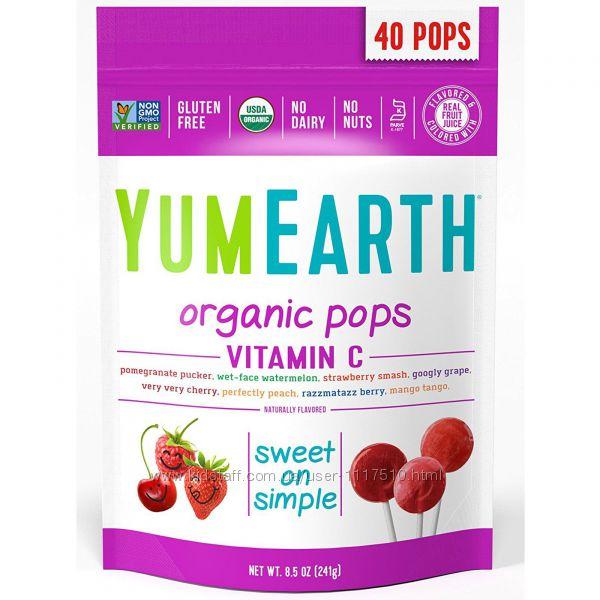 Леденцы YumEarth витамин C, 40 шт. iHerb, Айхерб, конфеты.