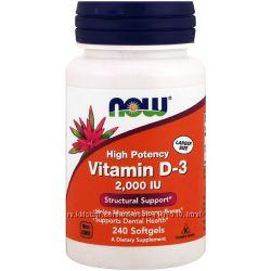 IHerb. Now Foods, Витамин D-3, 2000 IU, 240 мягких капсул. Айхерб.