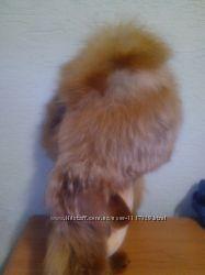 Шикарная шапка с натурального меха рыжей лисы.