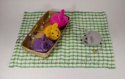 Мышка с колокольчиком, мягкая игрушка, вязаная крючком, ручная работа