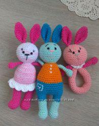 игрушка погремушка грызунок зайчик и кот вязаный крючком подарок