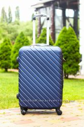 Синя пластикова валіза без передплат велика середня маленька Чемодан