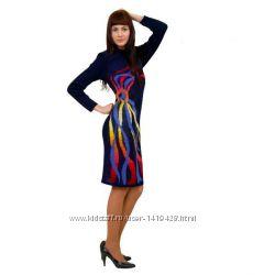 Авторское вязаное платье-миди.
