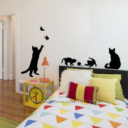Наклейки виниловые на стену котики