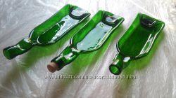 Тарелка из бутылки зеленая глубокая