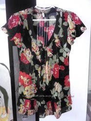 Очень красивая шифоновая легкая туника платье в розах
