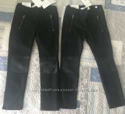 Чёрные джинсы с кожаными вставками 4-5 лет hm, замеры