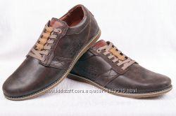 Мужские кожаные туфли Levis 00198  синие, коричневые