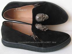 Philipp Plein 2017 Женские стильные туфли слипоны натуральная замша мода
