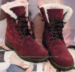 Супер зимние стильные женские сапоги ботинки Timberland теплые нубук взуття