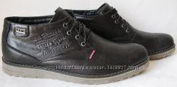 Levi&acutes зимние черные стильные кожаные мужские ботинки Levis шерсть тепло