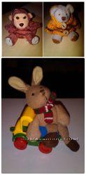 Мягкие игрушки Мишка Зайка Обезьянка в виде рюкзака совсем малыш