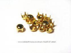 Заклёпки крабы металлические круглые - золото 3, 5мм