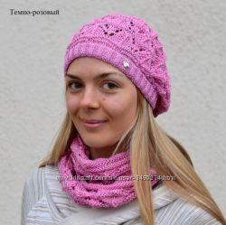 Ежик ажурная шапка-берет  шарф хомут