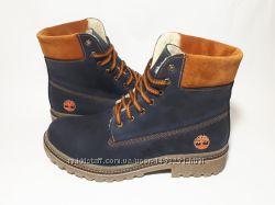 Мужские зимние ботинки Timberland кожаные на натуральной шерсти 45