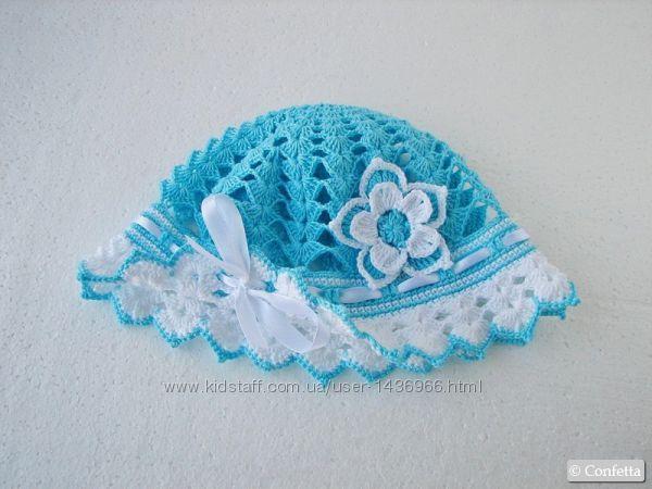 Летняя голубая панамка, детская шапочка ручной вязки.