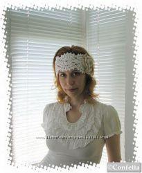 летняя ажурная женская повязка  с цветком