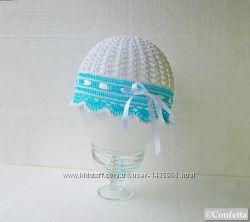 Ажурная летняя шапочка ручной вязки