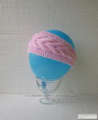 повязка на голову розовая с косами ручной вязки