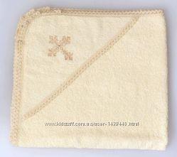 махровая вышитая крыжма с капюшоном для крещения новорожденных 80х80