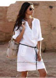 Льняное платье, туника, сафари, пляжное платье, сарафан. Белоснежн лен100