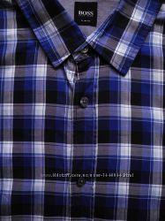 Мужская рубашка в клетку синяя сочная HUGO BOSS  XXXL XXL  XL